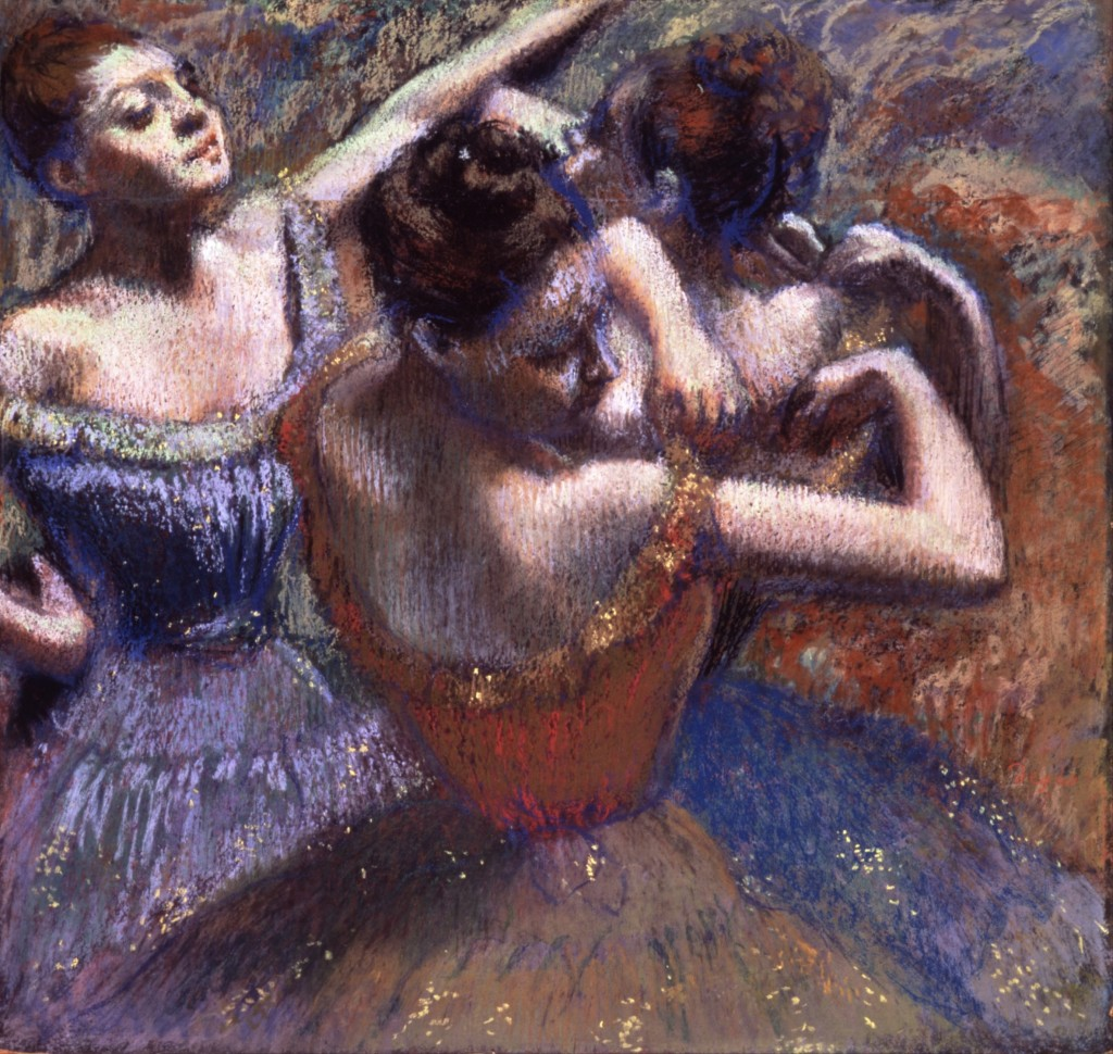 6-32 Edgar Degas, Dancers, ca. 1895-1900. Pastel on wove paper, 81 x 65 cm. Toledo Museum of Art.
