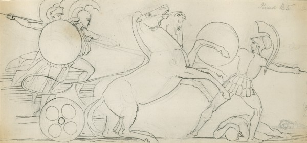 5-31 John Flaxman, Diomed Casting his Spear at Mars, 1792-93. Pencil, pen and ink on gray laid paper, 16.7 x 36.7 cm. Royal Academy of Arts, London.