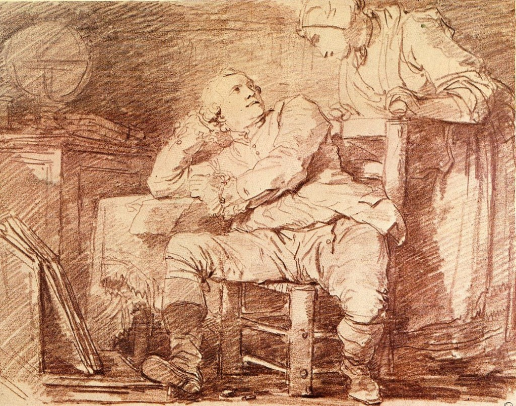 5-19 Jean Honoré Fragonard, Artist in the Studio, 1773-1774. Red chalk, 38.2 x 48.6 cm. The Fine Arts Museums of San Francisco.