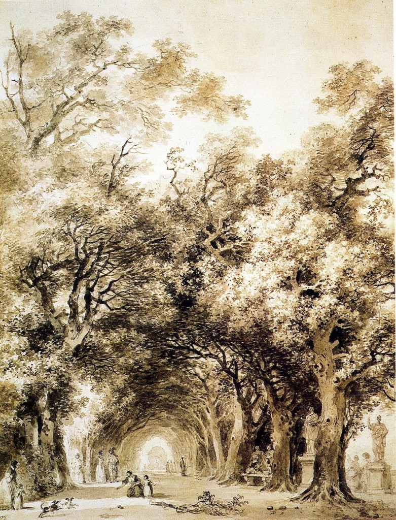 5-20 Jean Honoré Fragonard, A Shaded Avenue, ca. 1774. Brush and wash over black chalk, 45.5 x 34.7 cm. Musée du Petit Palais, Paris.