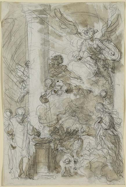 5-21 Jean Honoré Fragonard, Instead of Virtues, St. Michael Finds Vices Rampant in the Church (Orlando Furioso XIV, 81), 1780s. Black chalk, pen and ink, brush and wash, 38.1 x 24.2 cm. National Gallery of Canada, Ottawa,