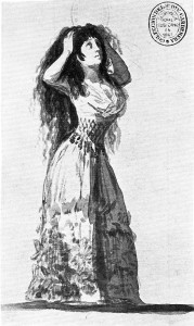 "5-46 Francisco Goya, The Duchess of Alba ""tears her hair"" (Valentín Carderera, 1867), Sanlúcar Album (A), 1796. India ink, 17.1 x 10.1. Biblioteca Nacional, Madrid."
