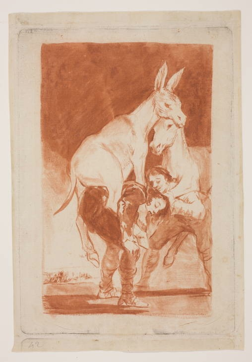 5-52 Francisco Goya, Capricho 42: Tu que no puedes (You who cannot), 1797-1798. Red chalk wash and red chalk, 24.2 x 16.6 cm. Prado Museum, Madrid.