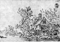 4-42 Jan van Goyen, House with Outbuildings and Trees on the Right Bank. Black chalk, 13 x 19 cm. Staatlichen Kunstsammlungen, Dresden.