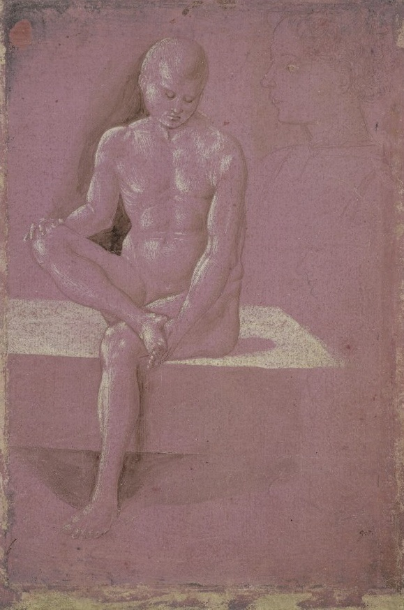 2-14 Workshop of Benozzo Gozzoli (or Luca della Robbia?), Nude Man, ca. 1460. Metalpoint with white heightening on purple-pink paper, 22.6 x 15 cm. Louvre Museum, Paris.