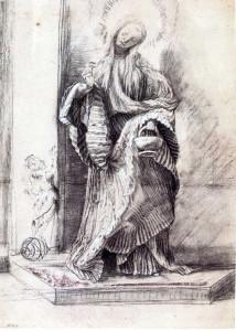 3-53 Grünewald (Mathis Gothart Nithart), St. Dorothy, ca. 1511/1512. Black chalk with touches of gray wash heightened lead white, 35.8 x 25.6 cm. Kupferstichkabinett, Staatliche Museen zu Berlin-Preussischer Kulturbesitz.
