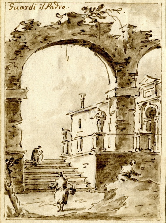 Francesco Guardi, Capriccio with Ruined Arch and Villa, ca. 17. Pen and ink and wash, 14.7 x 10.7 cm. Museo Correr, Venice.