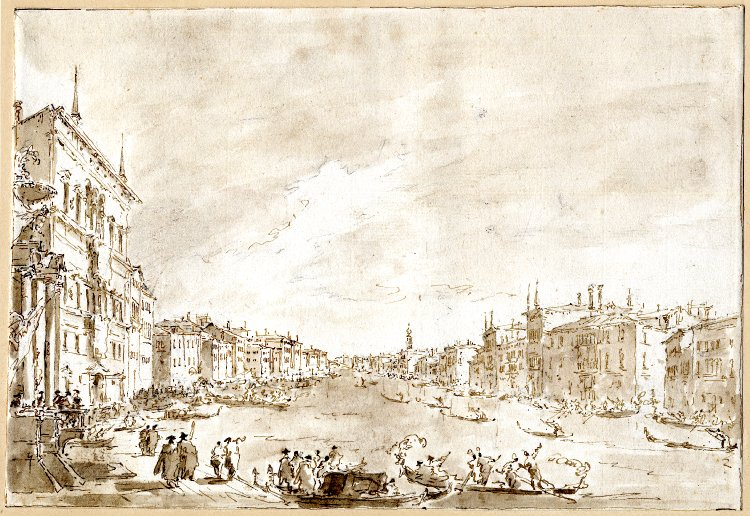 5-39 Francesco Guardi, A Regatta on the Grand Canal, Venice, ca. 1770-75. Pen and ink, wash over black chalk, 23.9 x 35 cm. British Museum, London.