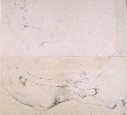6-1 Jean-Auguste-Dominique Ingres, Studies for 'The Grand Odalisque' , 1814. Graphite on three attached sheets of paper, 25.4 x 26.5 cm. Paris, Musée du Louvre.