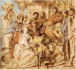 4-40 Jacob Jordaens, The Continence of Scipio, after 1636. Brush and brown wash, body color, 22.0 x 24.2 cm. The Museum Boijmans van Beuningen, Rotterdam.