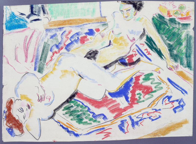 Ernst Ludwig Kirchner, Two Nudes on a Carpet, 1909. Pastel and colored chalk, 64.5 x 90 cm. Chicago, Art Institute.