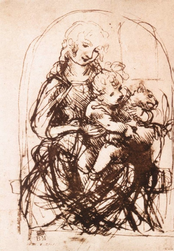 3-2 Leonardo da Vinci, Sketch for the Madonna of the Cat, ca. 1478-80. Pen and brown ink, stylus incised, 13.2 x 9.6 cm. The British Museum, London.