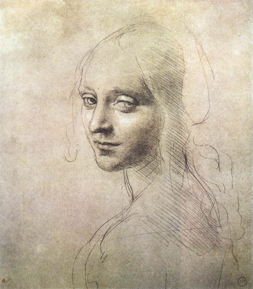 3-3 Leonardo da Vinci, Study of a Young Woman's Face, 1480s. Silverpoint, with traces of leadpoint, and white gouache highlights, on very pale ocher prepared paper, 18.1 x 15.9 cm. Biblioteca Reale, Turin.