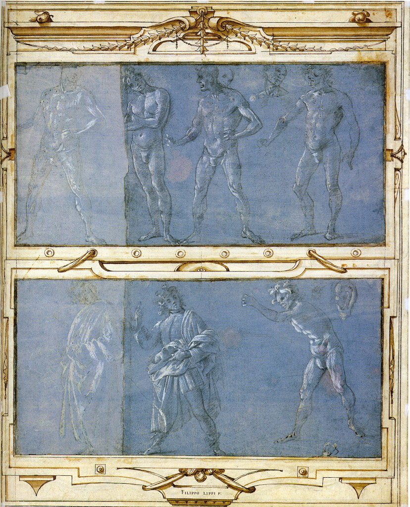 2-19 Filippino Lippi, Four Male Nudes; Two Clothed Men, Male Nude, Ear. Metalpoint heightened with white gouache on blue prepared paper, each sheet extended on left; top sheet, 20. 7 x 41.5 cm., bottom, 20.7 x 40.8 cm. Framed in Giorgio Vasari's Libro de' disegni. Pen and brown ink, brown and gray wash, 56.5 x 45.0 cm. Christ Church Picture Gallery, Oxford. [not in scale]