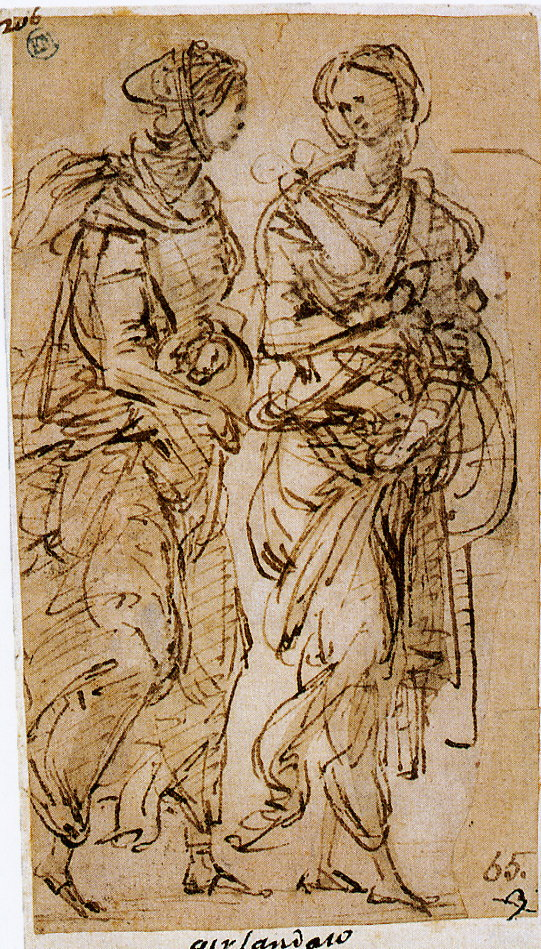 2-21 Filippino Lippi, Two Women Conversing, ca. 1500. Pen and brown ink and brown wash over traces of leadpoint or black chalk on paper rubbed lightly with reddish chalk, 11.5 x 6.5 cm. National Museum, Stockholm.