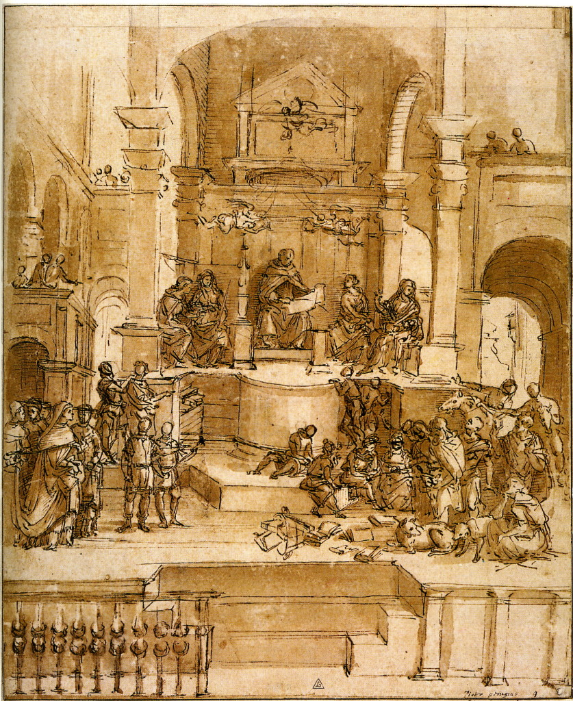2-20 Filippino Lippi, Triumph of St. Thomas Aquinas, ca. 1488. Pen and brown ink and brown wash, 29.1 x 23.9 cm. British Museum, London.