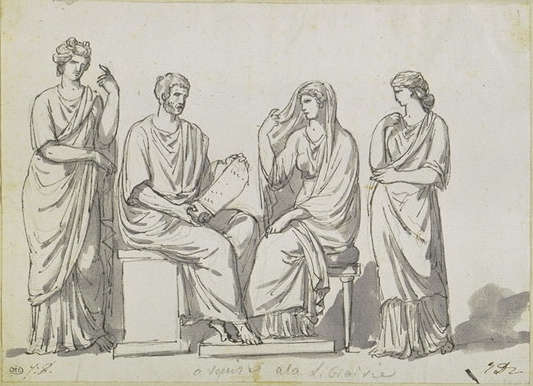 5-26 Jacques-Louis David, Four Draped Figures in Conversation, 1780. Pen and black ink, gray wash over black chalk, 15.4 x 21.0. cm. Musée du Louvre, Paris.