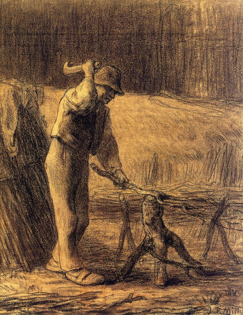 6-19 Jean-François Millet, Woodcutter Making a Faggot, ca. 1853-54. Black conté crayon, 38.1 x 29.8 cm. New York, The Metropolitan Museum of Art.