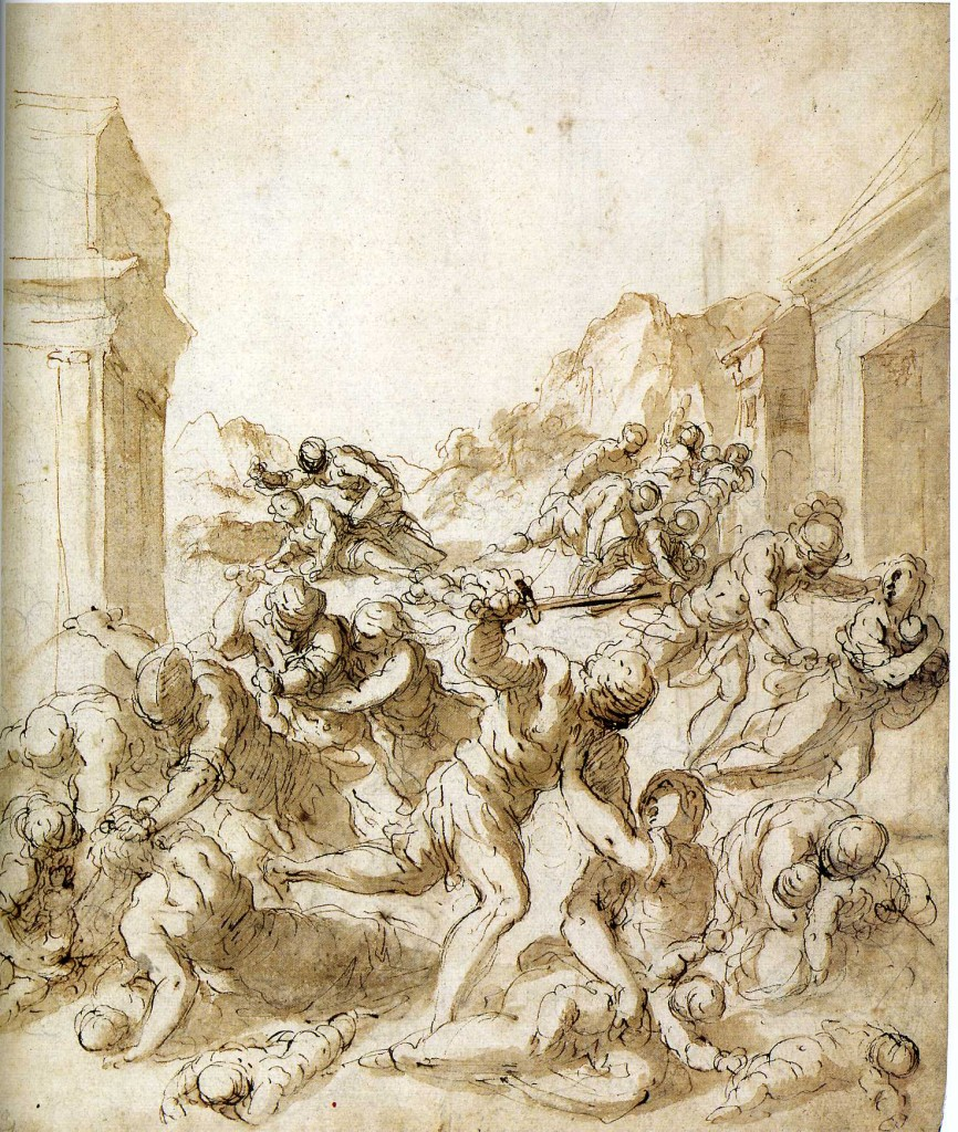 3-40 Palma Giovane, The Massacre of the Innocents, ca. 1600. Lead stylus, pen and brown ink, brush, brown wash, 31.6 x 26.4 cm. Albertina, Vienna.