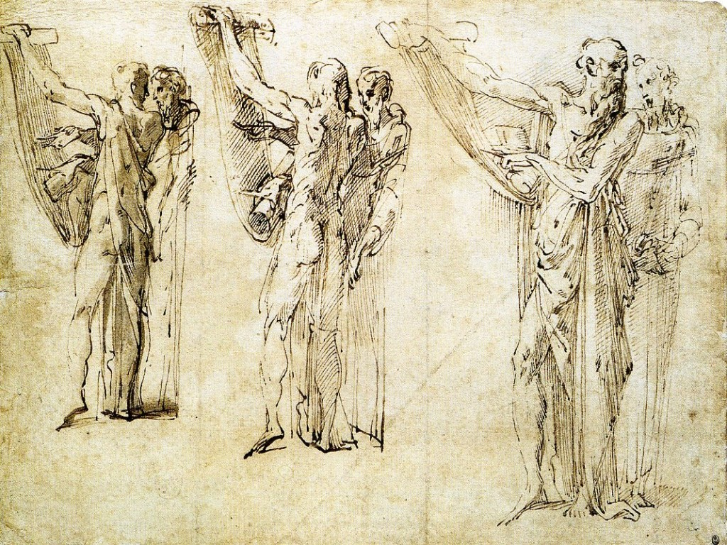 3-45 Parmigianino, Three Studies of Saints Jerome and Francis, ca. 1535-39. Pen and ink, wash, 14.1 x 18.6 cm. Ashmolean Museum , Oxford.