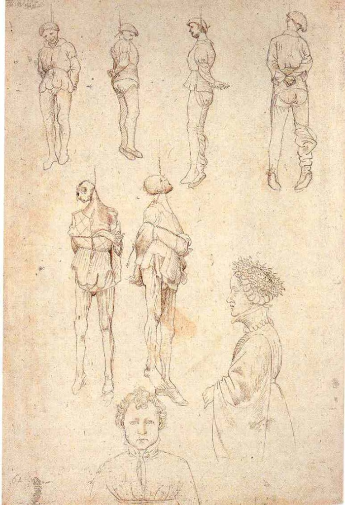 2-9 Pisanello, Study of Three Hanged Men, Dwarf, and Child's Head, ca. 1434-38. Pen and ink over metalpoint, 28.3 x 19.3 cm. British Museum, London.