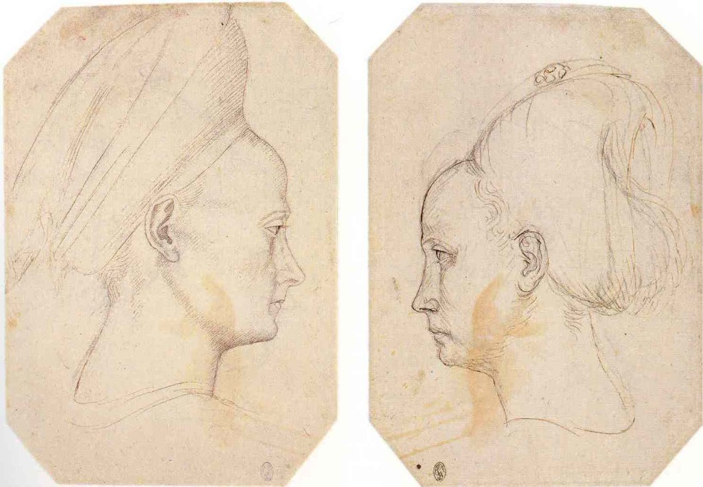 2-8 Pisanello, Profile of a Young Woman, recto and verso. Pen and ink over black chalk, ca. 1434-38. Musée du Louvre, Paris.
