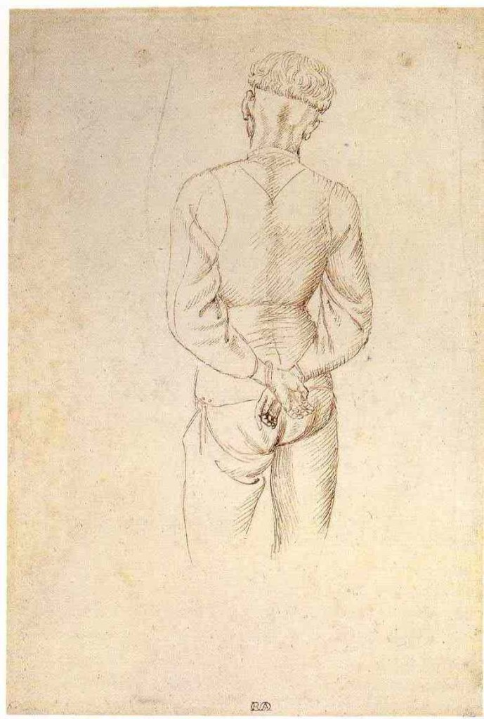 2-10 Pisanello, Study of a Model with Hands Behind his Back, 1434-38. Pen and ink over metalpoint, 26.8 x 18.6 cm. National Gallery of Scotland, Edinburgh.