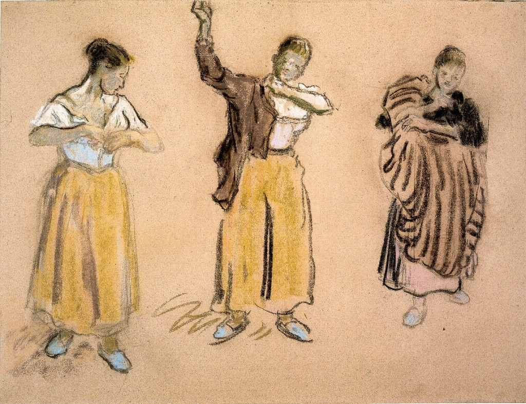 6-38 Camille Pissarro, Three Studies of a Woman Dressing, ca. 1895-1900. Pastel on pink paper, 46.1 x 60.8 cm. London, British Museum.