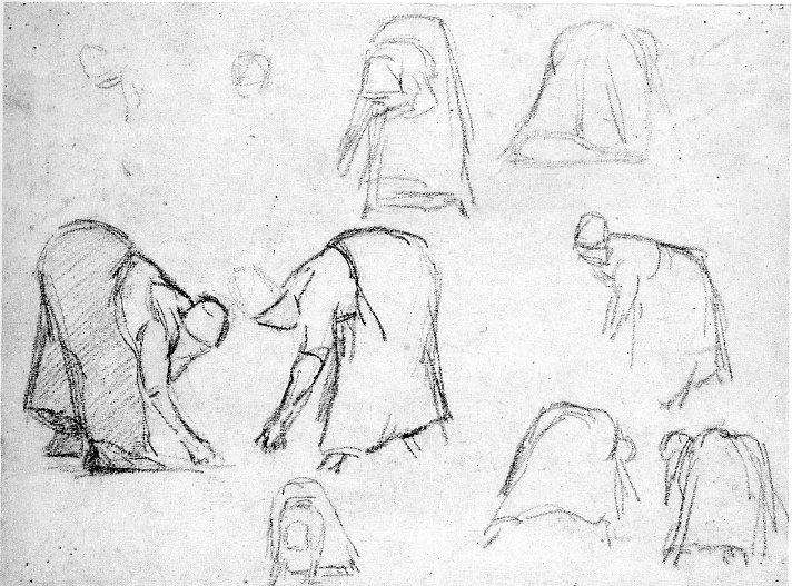 6-36 Camille Pissarro, Studies of Female Peasants Gleaning, (verso) 1874-1875. Black chalk, 23.8 x 31.6. Oxford, Ashmolean Museum.