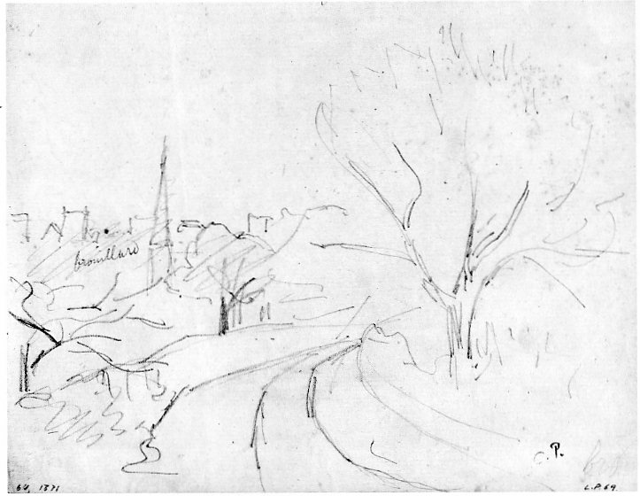 6-35 Camille Pissarro, Study of Lower Norwood, London, 1870-71. Pencil, 15.4 x 19.8. Oxford: Ashmolean Museum.