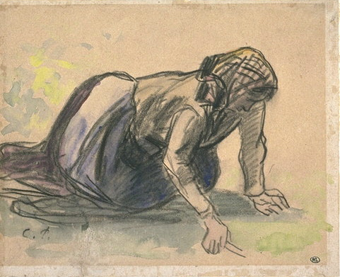 6-37 Camille Pissarro, Study of a Female Peasant Weeding, 1882. Black chalk with watercolor, 17.2 x 21.1 cm. Paris, Musée du Louvre.