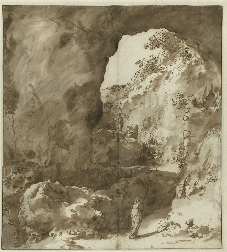 Cornelis Poelenburch, Interior of a Ruin with Figures, ca. 1621-23. Pen and brown ink, brush and brown and gray ink, traces of black chalk, 42.7 x 38.5 cm. Rijksmuseum, Rijksprentenkabinet, Amsterdam.