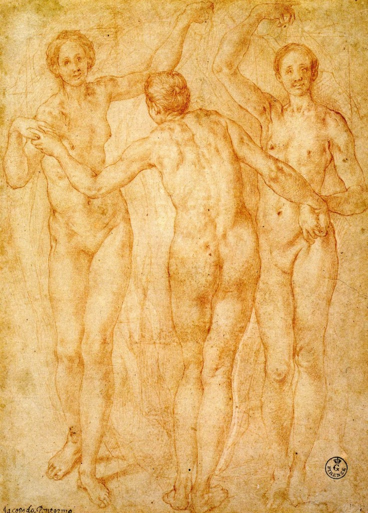 3-28 Pontormo, The Three Graces, ca. 1535-36. Red chalk, outlines incised for transfer, 29.5 x 21.2 cm. Uffizi, Florence.