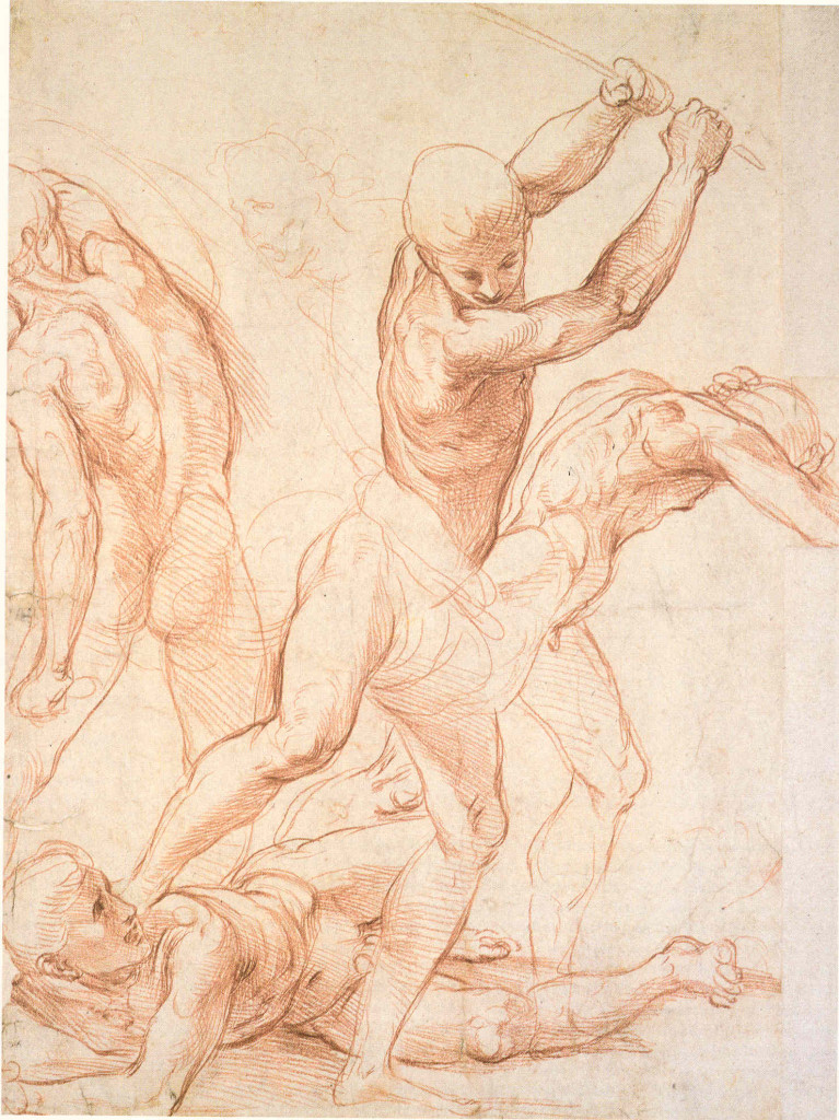 3-20 Raphael, Four Fighting Men, 1510-11. Red chalk over stylus underdrawing, 37.9 x 28.1 cm. Ashmolean Museum, Oxford.