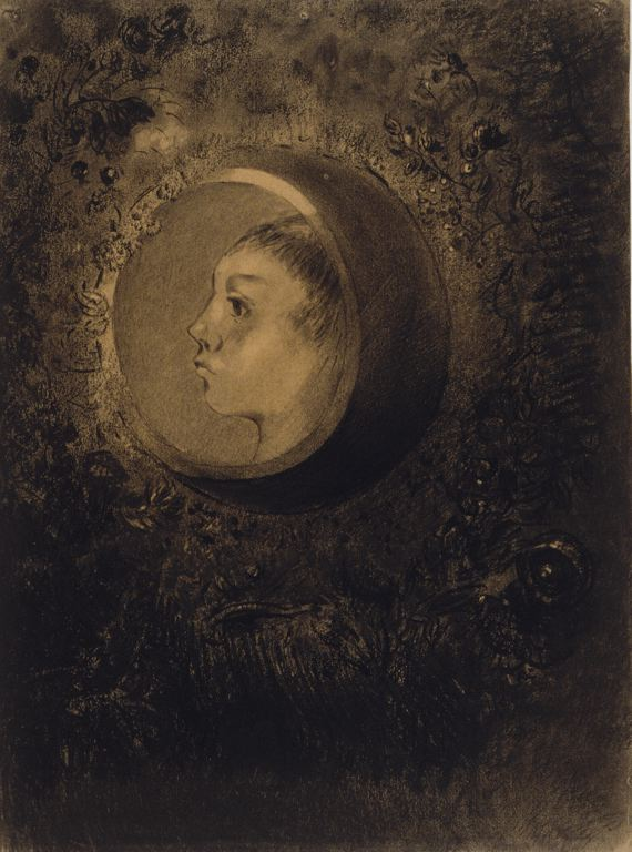 6-51 Odilon Redon, Cell, 1880s. Charcoal, black chalk, and black pastel, 50.8 x 37.8 cm. Chicago, Art Institute.