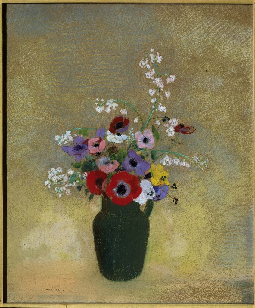 6-53 Odilon Redon, Flowers in a Green Pitcher. Pastel, 74.3 x 62.5 cm. Boston, Museum of Fine Arts.