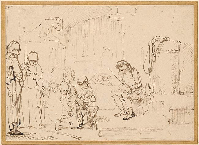4-54 Rembrandt, The Mocking of Christ: Matthew 27:27-29, 1650/53. Pen and ink, 15.6 x 21.7 cm. The Pierpont Morgan Library, New York.