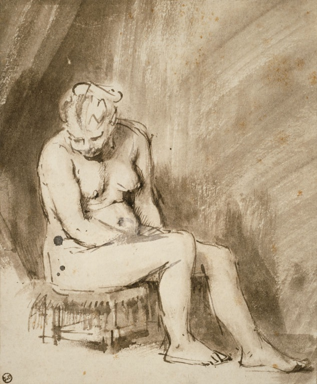 4-56 Rembrandt, Seated Female Nude, ca. 1660. Pen and ink, brown and white wash, 21.1 x 17.4 cm. The Art Institute, Chicago.