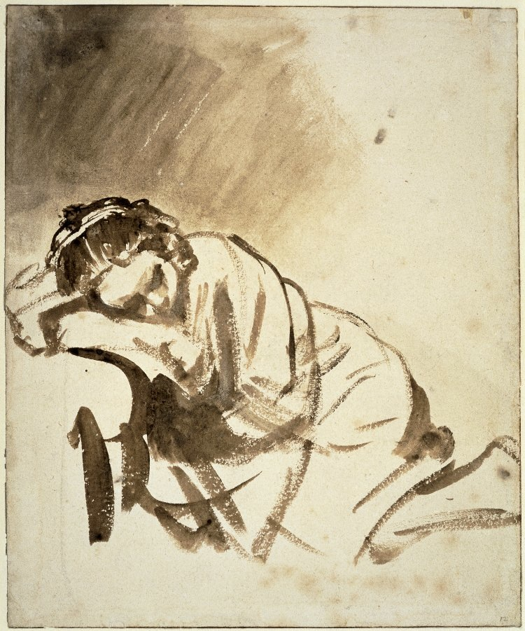 4-51 Rembrandt, A Young Woman Sleeping (Hendrickje Stoffels), ca. 1654. Brush and wash, 24.6 x 20.3 cm. The British Museum, London.