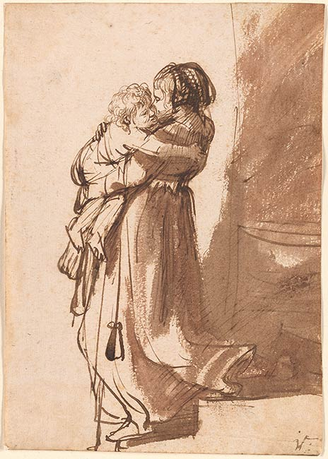4-50  Rembrandt, Woman with a Child Descending a Staircase, mid 1630s. Pen and wash, 18.7 x 13.2 cm. The Pierpont Morgan Library, New York.