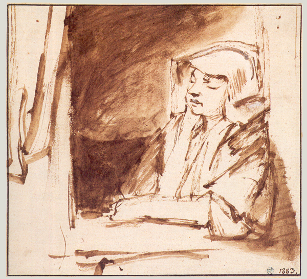 4-55  Rembrandt, Hendrickje Stoffels Seated in a Window, ca. 1655. Pen and wash, 16.2 x 17.4 cm. Nationalmuseum, Stockholm.