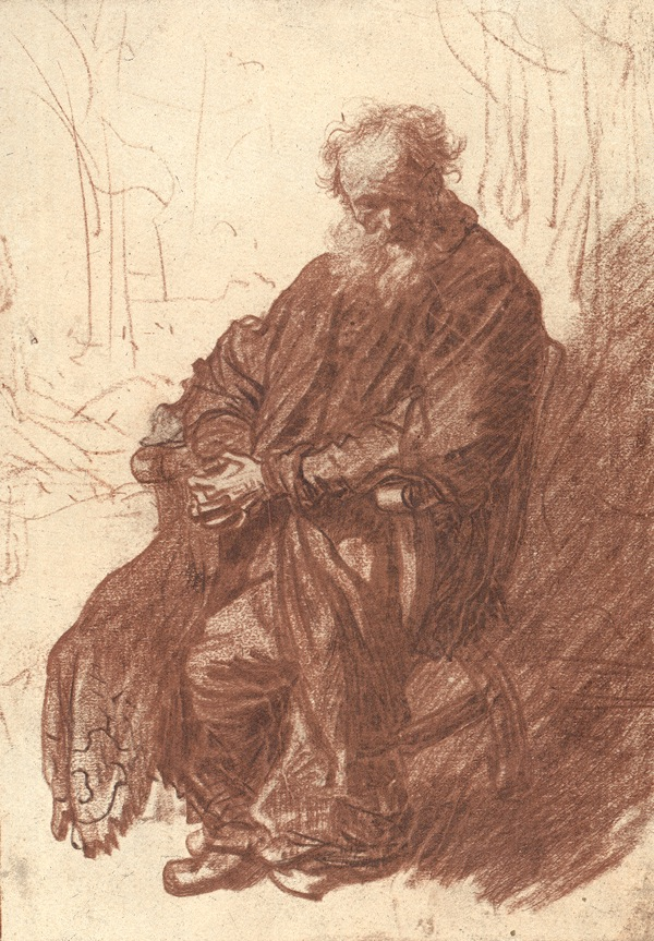 4-47 Rembrandt, Old Man Seated in an Armchair, 1630-31. Red and black chalk, 22.6 x 15.7. Staatliche Museen Preussischer Kulturbesitz, Kupferstichkabinett, Berlin.