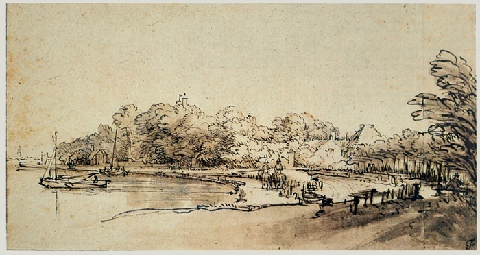 4-52  Rembrandt, The River Amstel at Kostverloren, late 1640s. Pen and wash, 13.6 x 24.7 cm. Chatsworth.