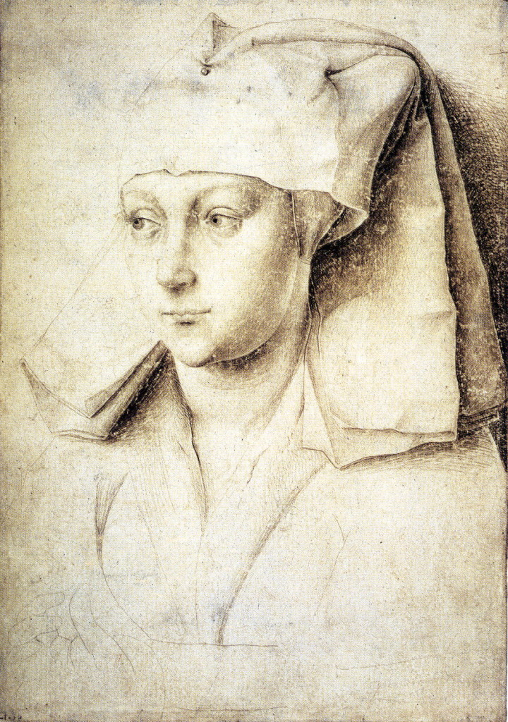 2-25 Rogier van der Weyden, Portrait of a Woman. Silverpoint on paper with cream-colored ground, 16.7 x 11.7 cm. The British Museum, London
