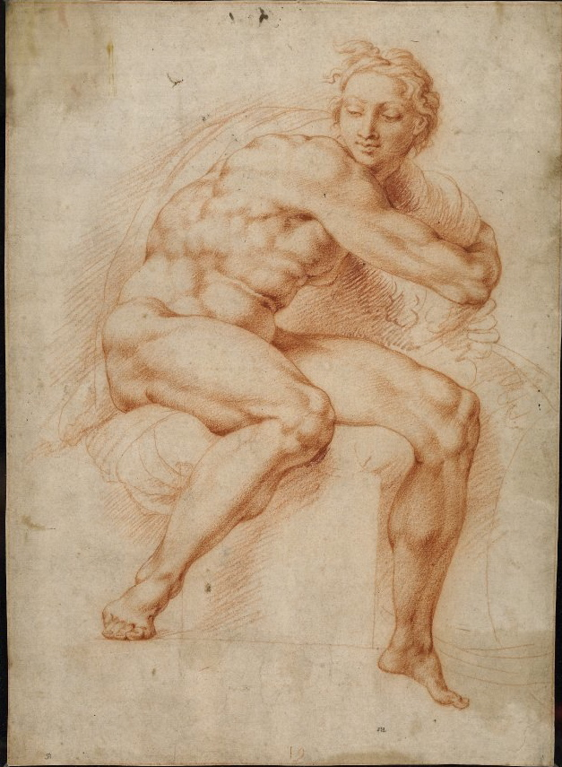 4-28  Peter Paul Rubens, Nude Youth Turning to the Right, after Michelangelo, ca. 1601-1602. Red chalk, 38.8 x 27.8 cm. British Museum, London.