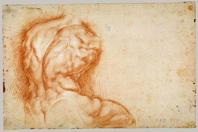 4-27 Peter Paul Rubens, Copy after the Belvedere Torso, verso, ca. 1601-02. Red chalk heightened with white, 39.5 x 26 cm. The Metropolitan Museum of Art, New York.