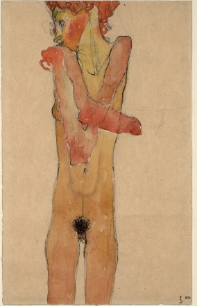 Egon Schiele, Young Woman with Crossed Arms, 1910. Black chalk, pencil, and watercolor, 48.8 x 28 cm. Vienna, Albertina.