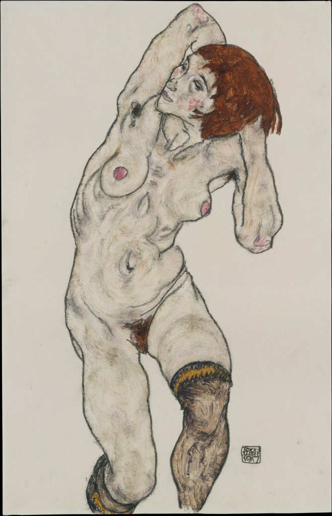 Egon Schiele, Female Nude with Black Stockings, 1917. Charcoal and watercolor, 46 x 29.5 cm. New York, Metropolitan Museum of Art.