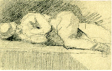 6-40 Georges Seurat, Man Lying on a Parapet, 1880-1881. Graphite, 10 x 16 cm. New York, Ann and Peter Rothschild.