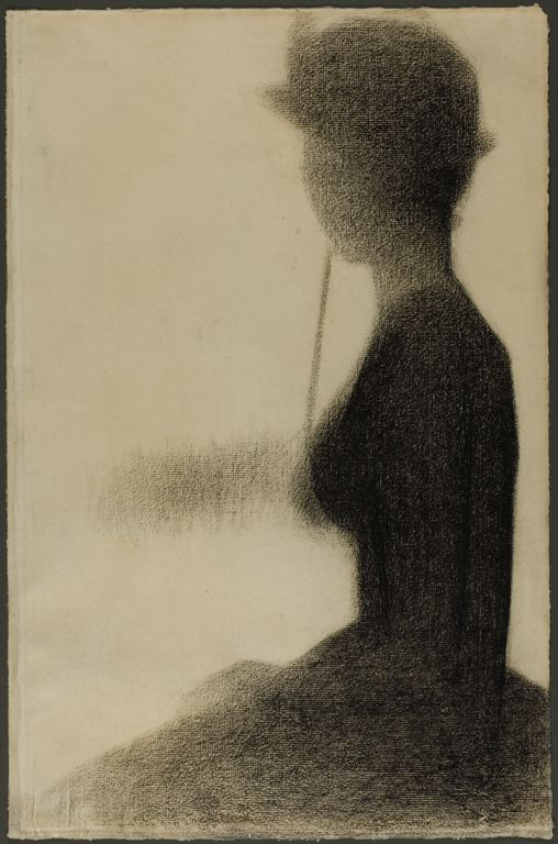 6-42 Georges Seurat, Seated Woman with a Parasol, 1884-85. Conté crayon and white chalk, 47.6 x 31.5 cm. Chicago, Art Institute.